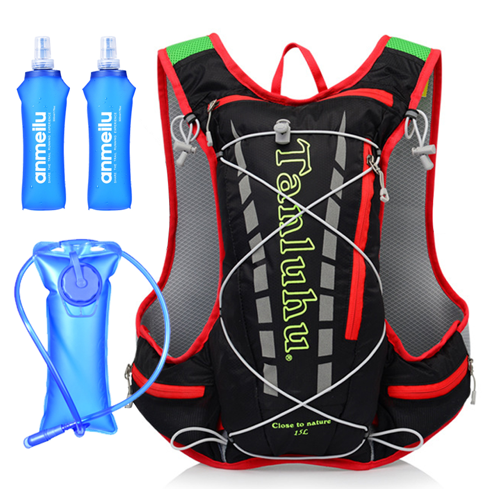 15L Cycling Running Bag Men Women Water Flask Bag Backpack Breathable Ultra Light Cycling Backpack Cross Country Trail Marathon