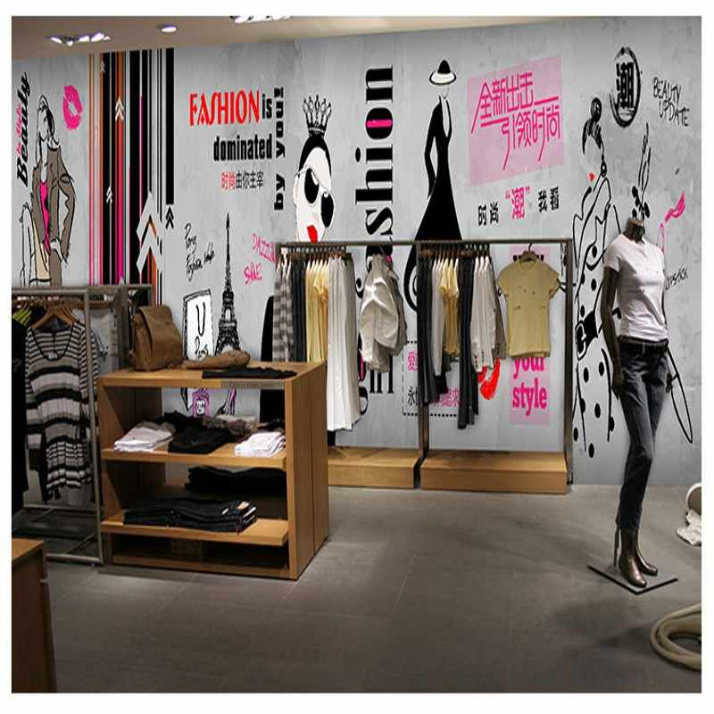 Drop Verzending Wallpaper Mode Handgeschilderde Kleding Winkel Behang Industriële Stijl Cement Muur Graffiti Custom Beauty Nail