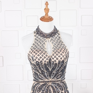 Image 5 - YY020 Churlya Wurfel dubai luxury evening gown latest gown design halter evening dress mermaid abendkleider 2020 kristall luxus