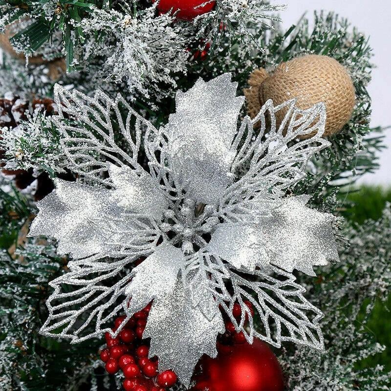 Biscotti Finti Per Albero Di Natale.Nuovo Artificiale Di Natale Fiori Glitter Poinsettia Fiori Finti Complementi Arredo Casa Buon Albero Di Natale Ornamenti Albero Di Natale Pendant Drop Ornaments Aliexpress