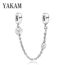 Daisy Safety Chain Bead Fit Original Pandora Charms Bracelet Daisies Flower Stopper Charm DIY Jewelry for Women Bangles Berloque charms blue daisy flower charm 100