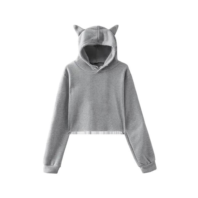 Free Ostrich Luxury Cute Womens Sweatshirts Hoodie Crop Tops Solid Cat Ear Long Sleeve Cropped Sweatshirt Hooded Pullover Gray