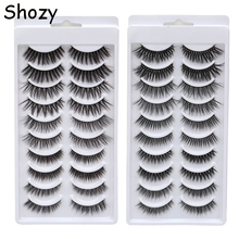 Shozy 10 Pairs Mixed Pack 3D Soft Faux Mink Eyelashes Handmade Wispy Fluffy Natural Long  False Extension for Makeup