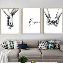 Love promise Hand in Sketch Drawing Wall Art Canvas Poster Prints Minimalist Couple Painting Black White Picture Home Decor