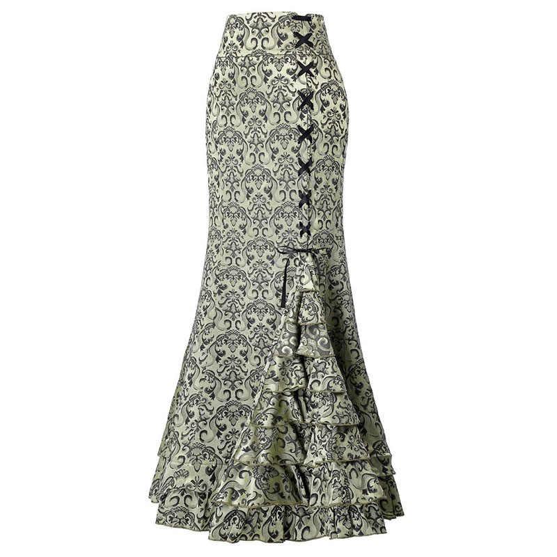 女性非対称トランペットスカート花柄レースパッチワークレースアップの高級マーメイドスカートエレガントなヴィンテージロングマーメイドスカート