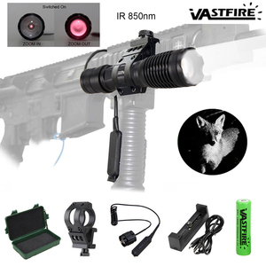 Image 1 - 5W 940nm IR LED Flashlight Hunting Tactical Zoomable Night Vision Torch Infrared Radiation Focus Lanterna Gun Mount 18650