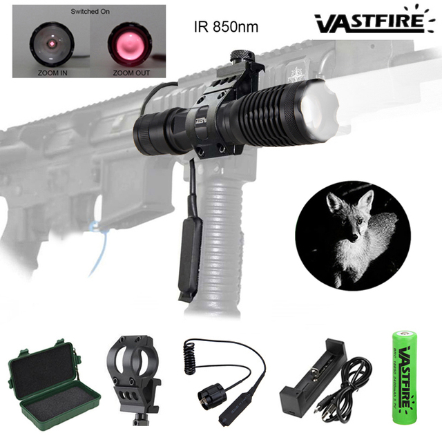 5W 940nm IR LED Flashlight Hunting Tactical Zoomable Night Vision Torch Infrared Radiation Focus Lanterna Gun Mount 18650