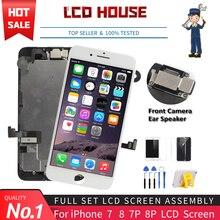Conjunto de tela LCD para iPhone 7, 8 e Plus, montagem completa Nº 1, digitalizador de toque, substituição da tela, display AAA câmera frontal