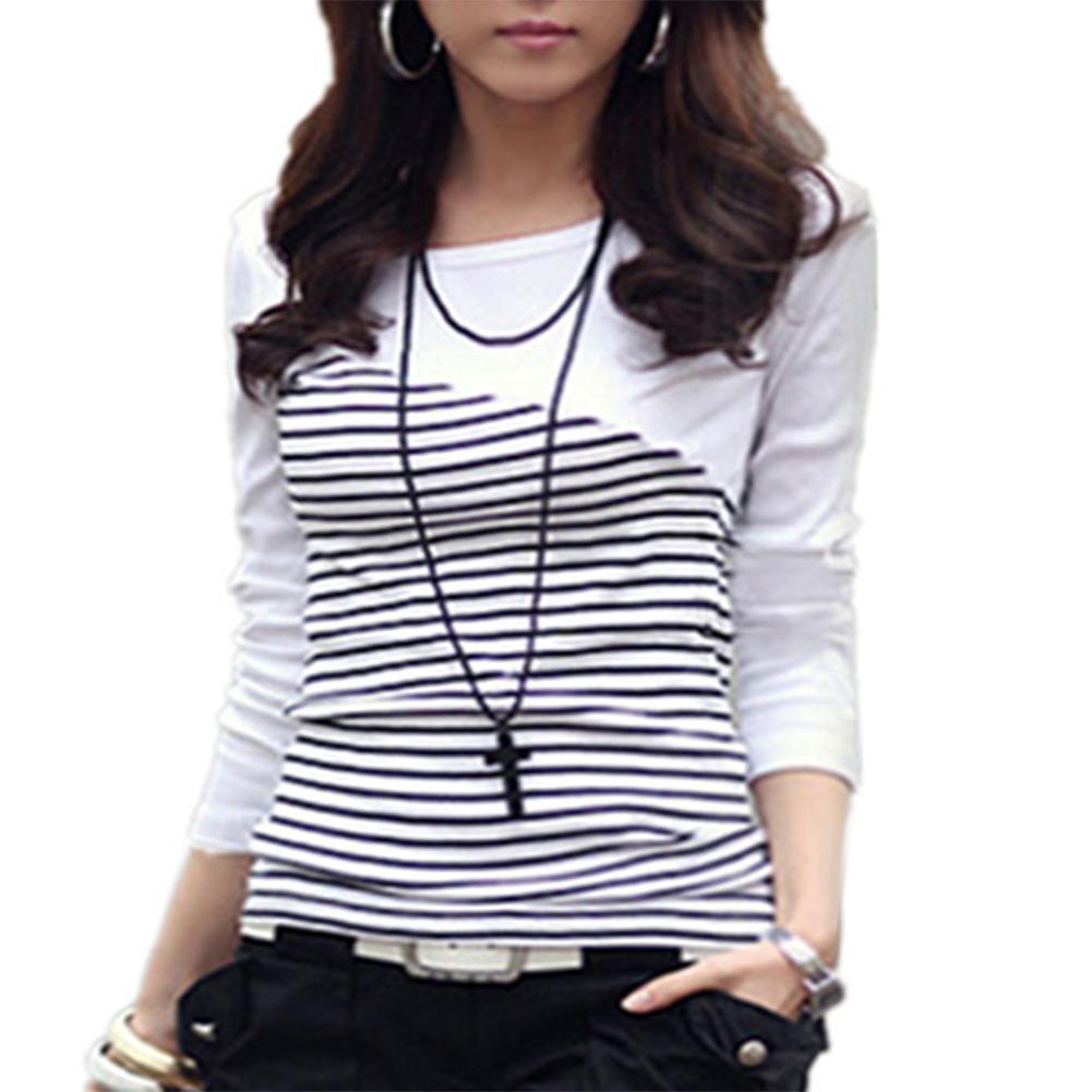 Fashion t shirt women stitching striped shirt casual long-sleeved large size women's loose comfortable T-shirt