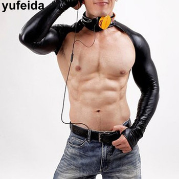 Sexy Men Body Chest Harness Faux Leather Sleeves Arm Sleeves Shrug Sexy Short Tops Stage Costumes Dance Clubwear Bondage Tops sexy midriff baring tops