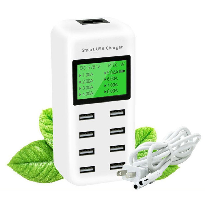 Smart USB Charger LED Display 8 Port 40W Fast Charging For iPhone iPad Samsung Huawei Xiaomi Mobile phone Smartphone Tablets