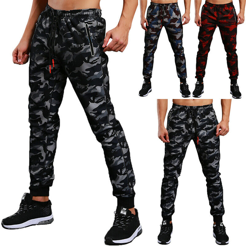 Men`s Camouflage Jogger Pants Sweatpants Fashion Track Slim Fit Workout Gym Basic Sports Camo Trousers