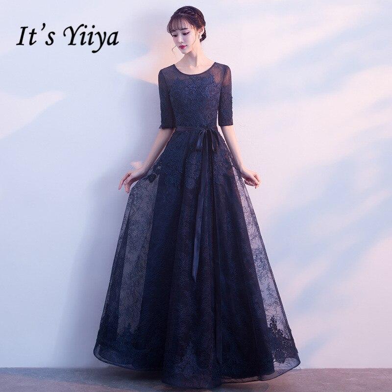 It's Yiiya Lace Evening Dresses 2020 Elegant O-neck Half Sleeve Long Evening Gowns For Women Formal Dress Vestidos K221