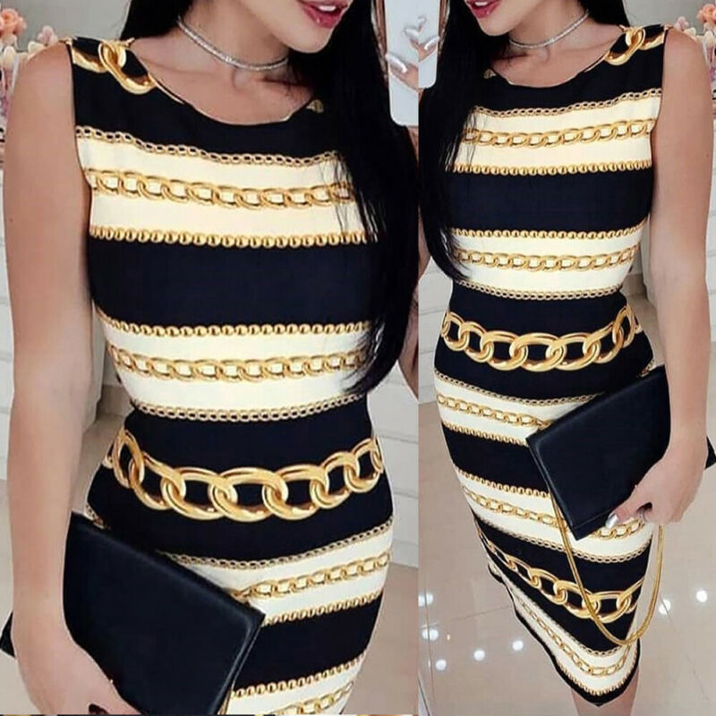 Goocheer New Style Womens Short Sleeve Bodycon Midi Dress Ladies Summer Striped Plus Size Skirt