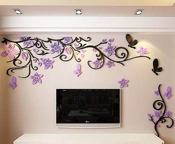 DIY Removable Vinyl Flower Wall Sticker Modern Decals For Wall Decor TV Background Decoration Mural Wallpaper For Living Room 15