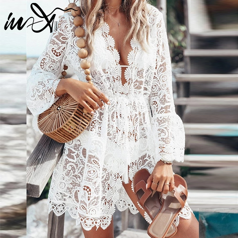 In-X Sexy Deep V-neck Cover Up 2019 Hollow Out Swimsuit Female White Plus Size Swimwear Women Bathers Floral Lace Beach Dress