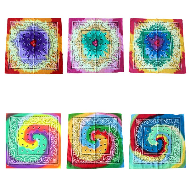 55cm Multicolor Tie Dye Bandana Head Wrap Rainbow Swirl Paisley Floral Square Scarf