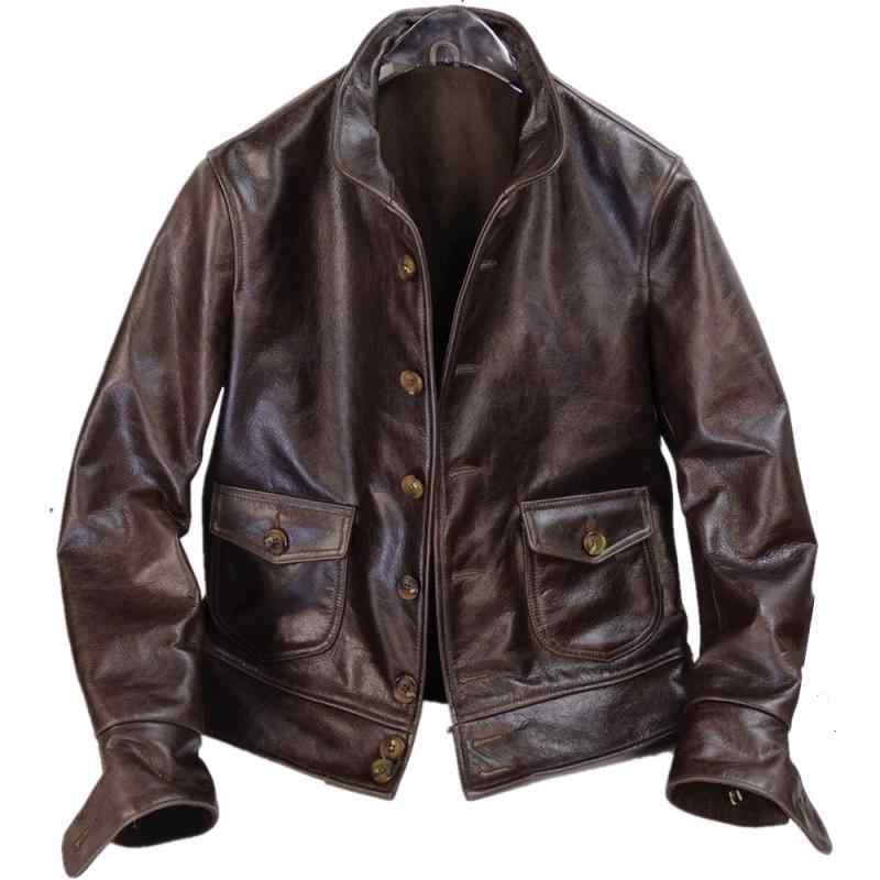 Frete grátis, nova marca jaqueta de couro genuíno. homens indigo estilo vintage cossaco jaqueta, clássico 1920 batik casaco, vendas