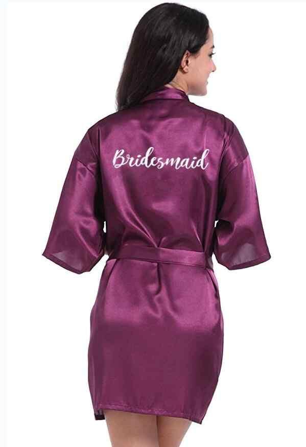 Baru Gelap Ungu Pernikahan Pengantin Jubah Bridesmaid Hadiah Akan Menikah Kimono Wanita Satin Jubah Nenek Pengantin Jubah