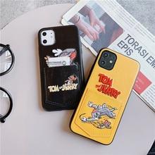 Pu Leather Cartoon Tom Jerry Pocket Phone Case For