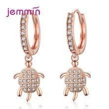 Turtle Shape Drop Ear Earrings 925 Sterling Silver Jewelry Women Fashion Cute Tortoise Cubic Zircon Rings Gift
