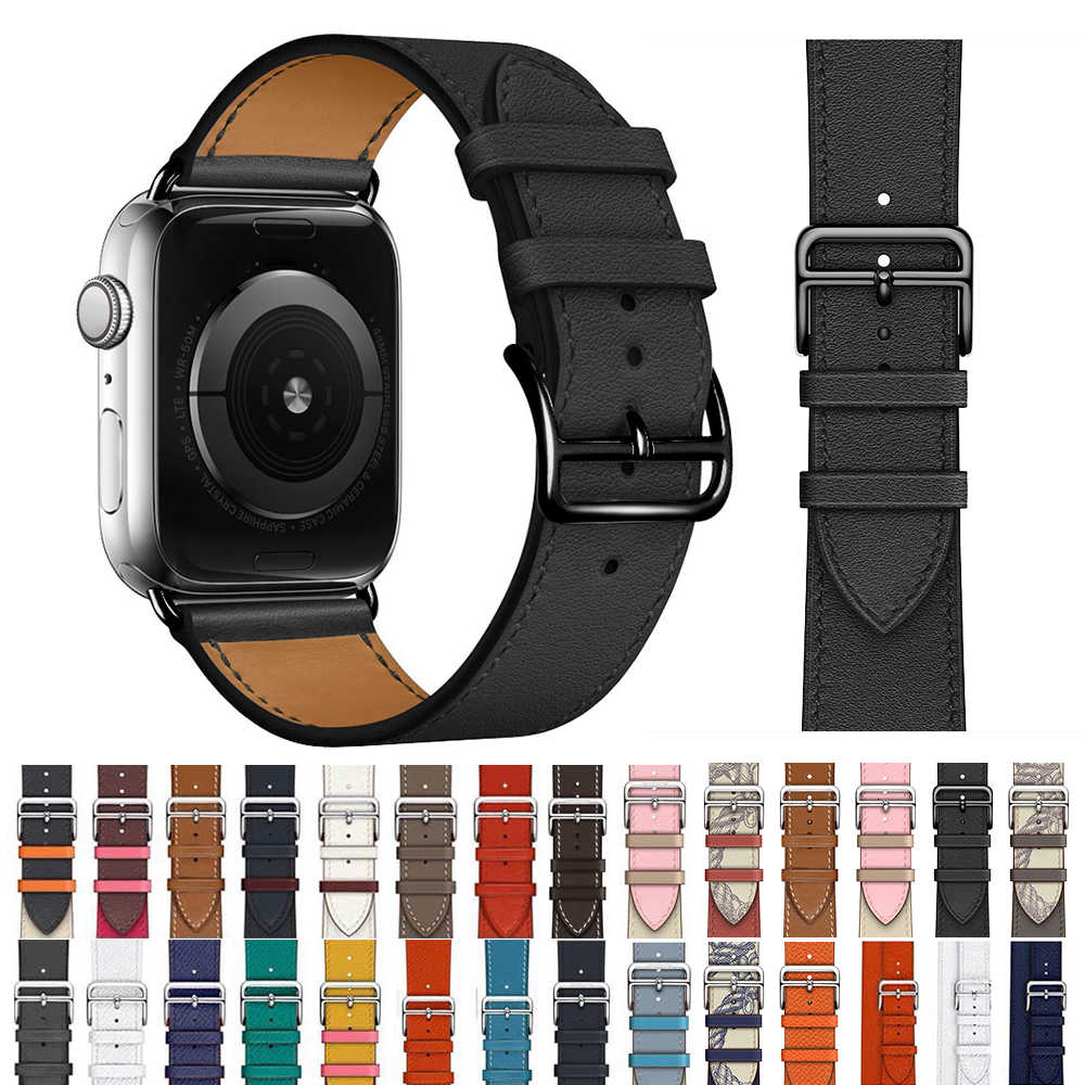 Correa de cuero de vaca para Apple Watch bandas 44mm iwatch Series 5 4 3 2 1 Accesorios inteligentes 42mm loop 38mm reemplazo de pulsera 40mm