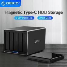 ORICO serii NS 5 Bay 3.5 ''typu C stacja dokująca HDD aluminium 5 gb/s 80TB obudowa dysku twardego USB3.1 obudowa HDD z 78W zasilacz