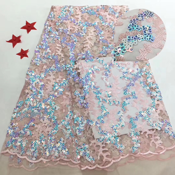2020 Latest Pink high quality sequins French Nigerian sequins net lace African tulle mesh sequins lace fabric for dress LR9102