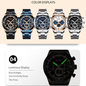 Image 5 - CURREN Sport Man WristWatch Calendar Chronograph Men Watch Military Army Top Brand Luxury Stainless Steel Casual Male Clock 8355