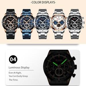 Image 5 - CURREN Мужские спортивные наручные часы, водонепроницаемые, хронограф, мужские часы, военные, лучший бренд, люкс, синий, нержавеющая сталь, мужские часы 8355