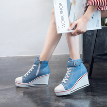 Купить с кэшбэком Women 8cm High Heels Wedge Platform Ankle Boots Blue/White/Black/Pink/Red/Leopard Casual Lady Shoes Spring/Autumn Female Shoes
