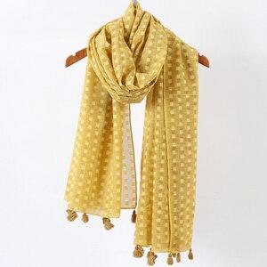 Image 4 - Hiyab de lunares plano liso para mujer, bufanda de gran tamaño, chal islámico, para la cabeza, suave, larga, mezcla de algodón, hijabs lisos