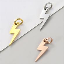Julie wang 5 pçs de aço inoxidável relâmpago encantos pequeno pingente colar pulseira jóias fazendo acessório 3 cores