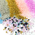 20g Colorful Pebbles Crushed Glass Stones Mineral Broken Crystal DIY Quicksand Filling Irregular Nail Art Gold Gravel Material