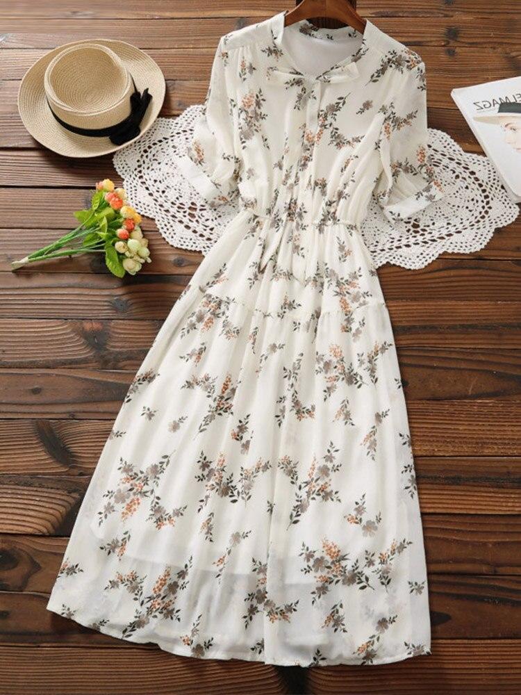 Sweet Dress Short-Sleeve Pleated-Vestidos Floral-Print Girl Female Long Korean-Fashion