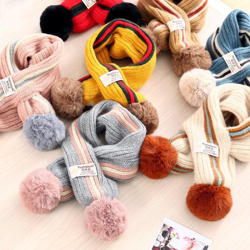 Hot Sale Kids Boys Girls Winter Scarf Kids Pompom Baby Scarf Warm Neck Warmer Scarves Knitting Wool Neck Warmer