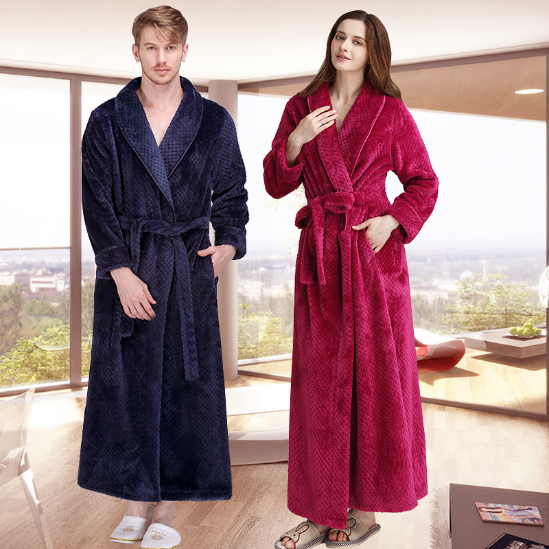 Women Winter Extra Long Thick Grid Flannel Bath Robe Soft Peignoir Sexy Warm Dressing Gown Men Bathrobe Bridesmaid Wedding Robes