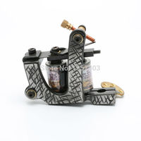 free shipping One Custom Pro Top Carbon Steel 10 Wrap Coils Tattoo Machine Gun Supply tattoo machine good quality