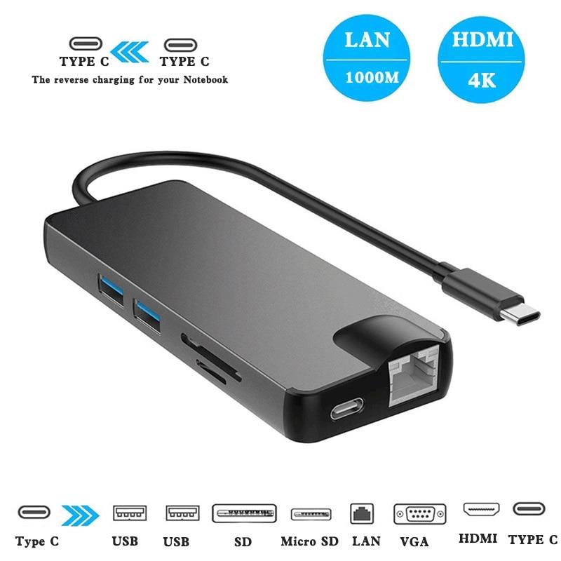 Dock 3.0 USB Hub Type C to HDMI 4K VGA PD RJ45 Gigabit LAN SD/TF Card HDMI Hub Adapter Station for Macbook Pro Samsung