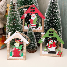 Christmas Decorations Mini Tree Ornaments Santa Claus Snowman Deer Xmas Party Wood Hanging Decoration for Home New Year