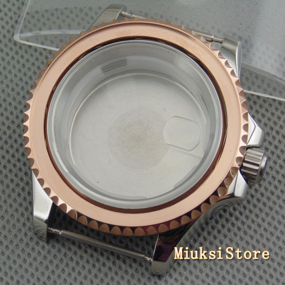 Vidro de Safira Rosa de Ouro Caixa do Relógio Parnis Case Ajuste 2836 Dg2813 – 3804 Miyota Movimento Série 82 Top 40mm Eta