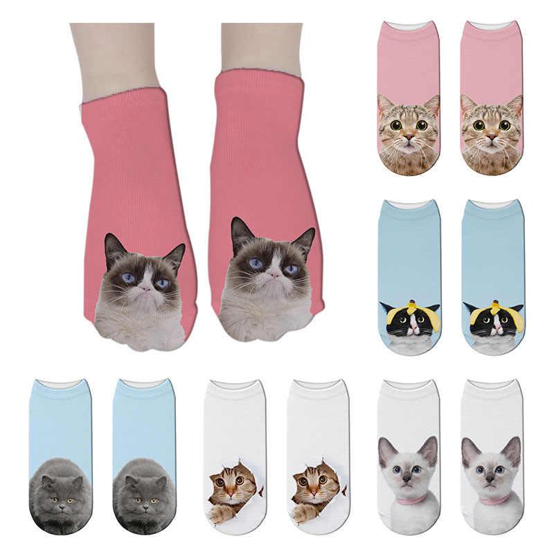 Unisex Summer Womens Soft Low Cut Socks Cotton 3D Printed Funny Cartoon Cat