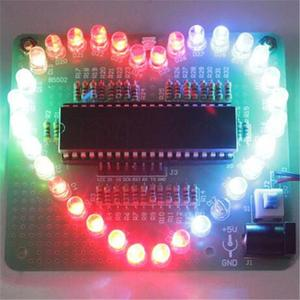 DIY Electronic Kit Heart Shape Colorful LED Module Love Water Light STC89C52 Parts & Components