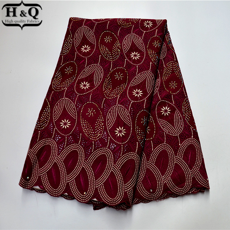 2020 Burgundy African Lace Fabric High Quality Swiss Voile Lace In Switzerland Fashion With Stones And Rhinestones For Party