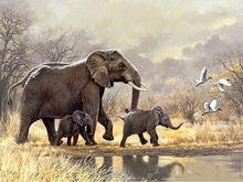 DIY Diamond Embroidered Mosaic Home Decor Aniamal Elephant Family 5D Diamond Cross Studded Rhinestone недорого