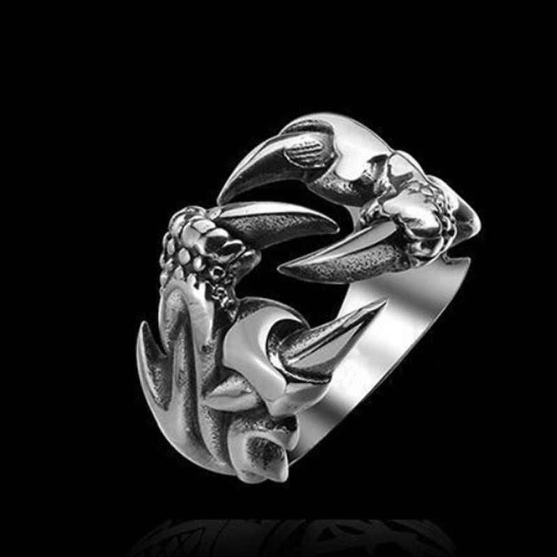 Retro gótico Punk hombres anillos de moda cráneo Lobo dragón hombre anillos joyería accesorios de Halloween
