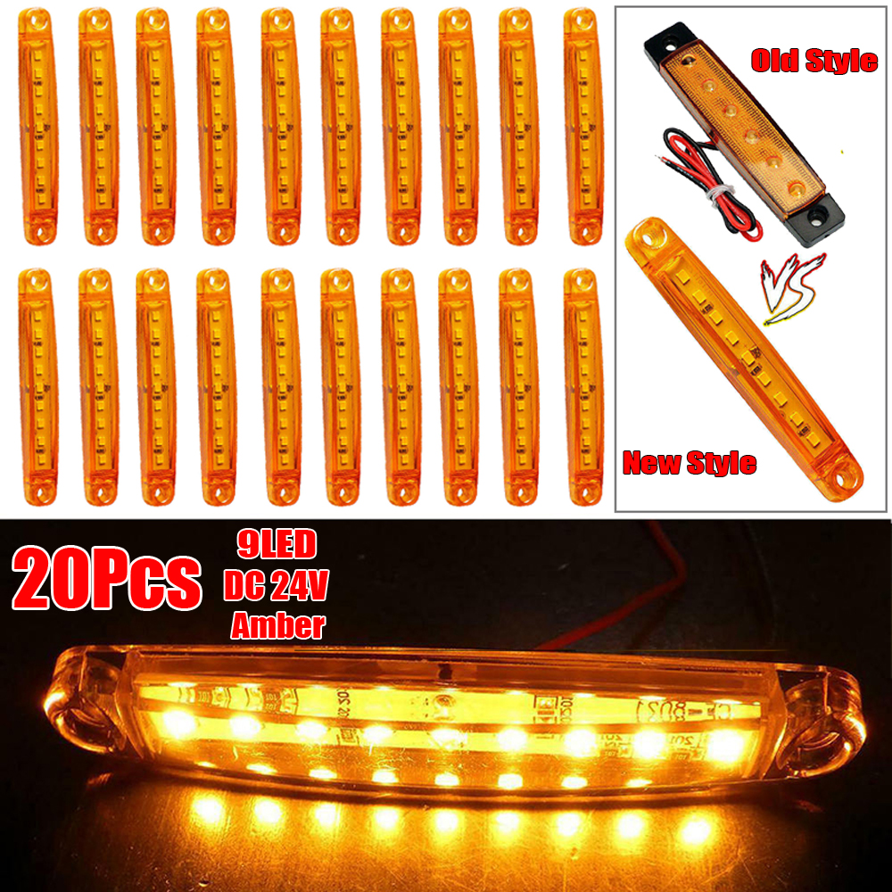 20pcs 24V/12v Amber 9LED Truck Lights Led Marker Light Car Bus Truck Lorry Side Marker Indicator Trailer Light Rear Side Lamp