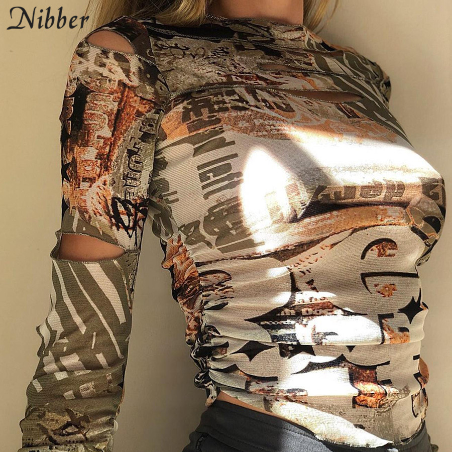 Nibber autumn stackedcut out Hole female tshirt Gothic street fashion graphic crop tops casual Basic tees woman Selling new 1