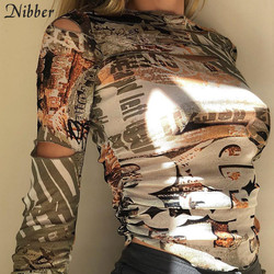 Nibber autumn stackedcut out Hole female tshirt Gothic street fashion graphic crop tops casual Basic tees woman Selling new