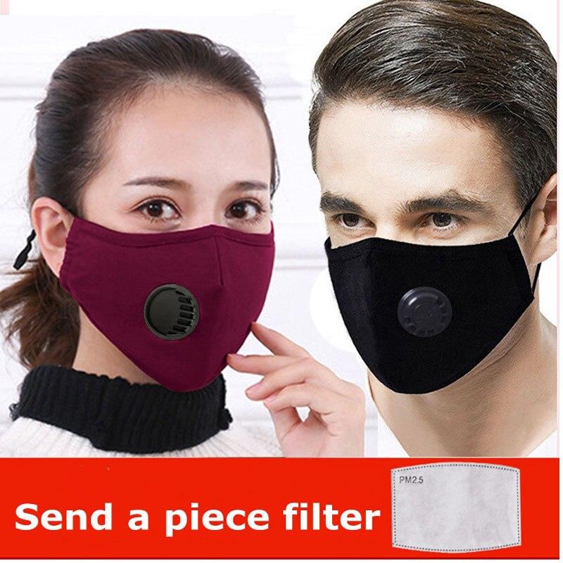 Women Men Facemask Cotton PM2 5 Black Mouth Mask Anti Dust Activated Carbon Filter Bacteria Proof Innrech Market.com
